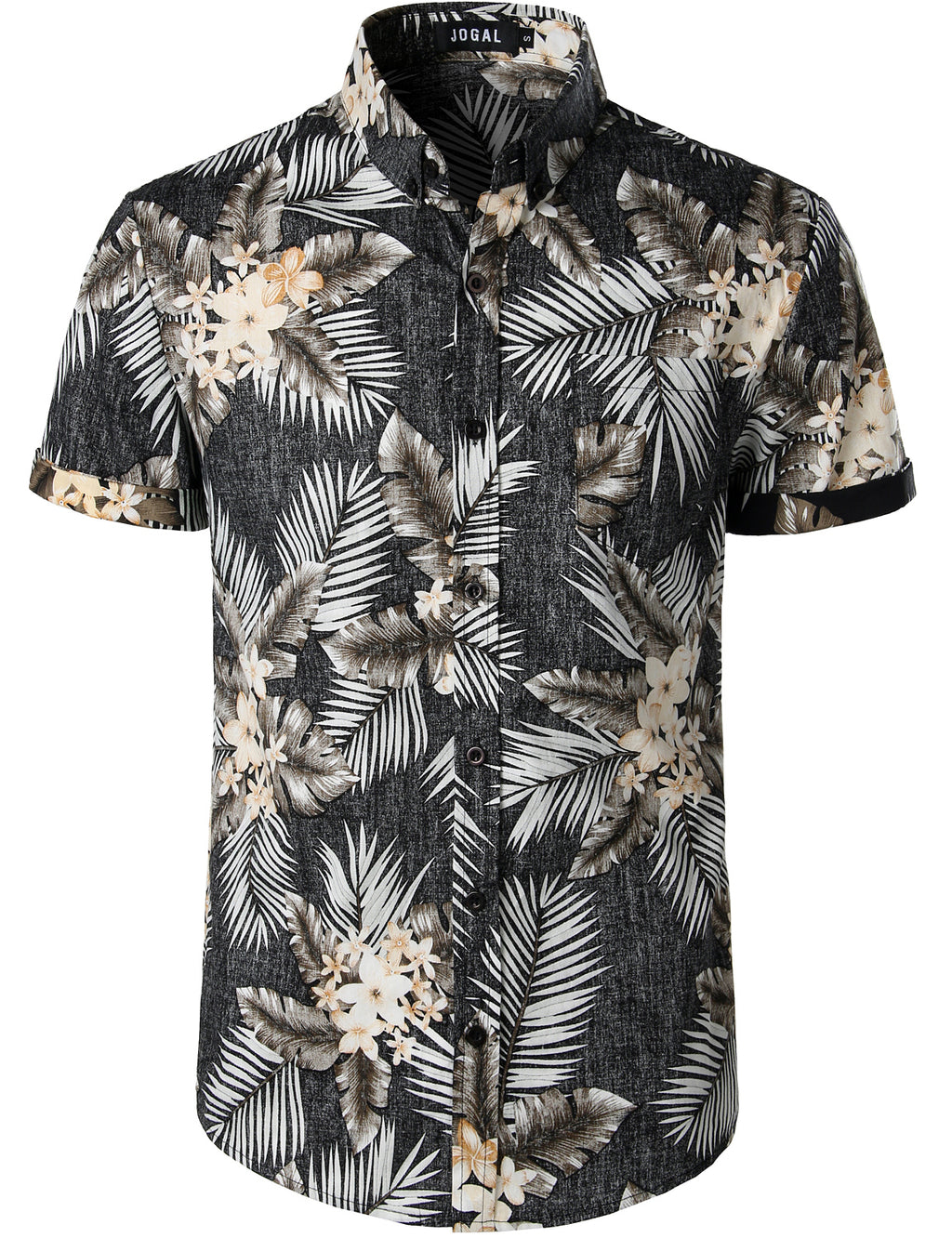 JOGAL Men's Flower Casual Button Down Short Sleeve Hawaiian Shirt(Black leaves)