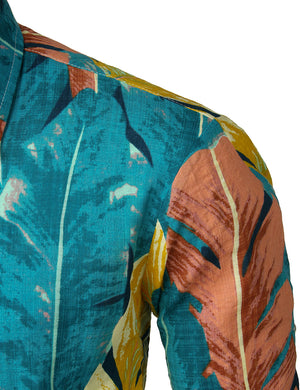 JOGAL Men's Flower Casual Button Down Long Sleeve Hawaiian Shirt