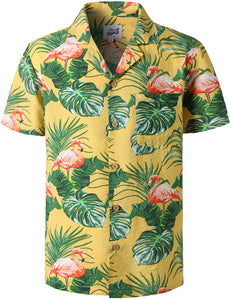 JOGAL Mens Hawaiian Shirt Flamingos Short Sleeve Shirt STAG Beach Holiday Casual