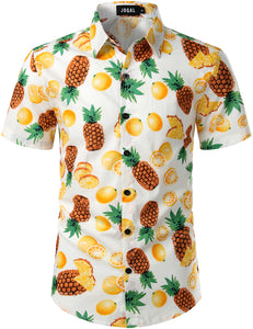 JOGAL Men's Cotton Button Down Short Sleeve Hawaiian Shirt (Pineapple orange)