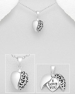 I Love You Heart 925 Sterling Silver Necklace