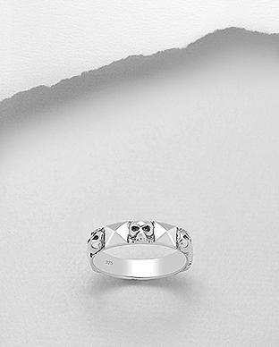 6 Skulls Band 925 Sterling Silver Ring