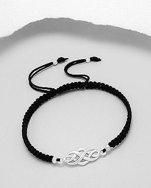 Celtic 925 Sterling Silver Bracelet With Woven Polyester