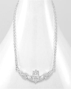 Celtic Claddagh 925 Sterling Silver Necklace