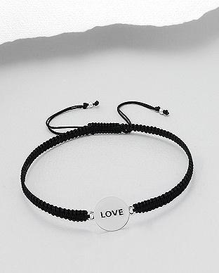 Love 925 Sterling Silver Bracelet With Woven Polyester
