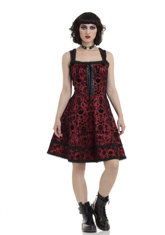 Dark Damask Flocked Taffeta Dress