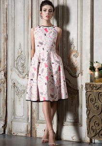 Jacqueline - Paper Doll Print Flare Dress
