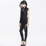 Gothic Sleeveless Top With Hood