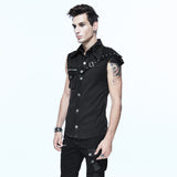 Sleeveless Men's Top With PU Leather Spiked Shoulder