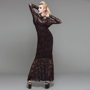 Gothic Long Lace Red Dress