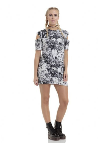 FLORAL SKULLS COLD SHOULDER DRESS
