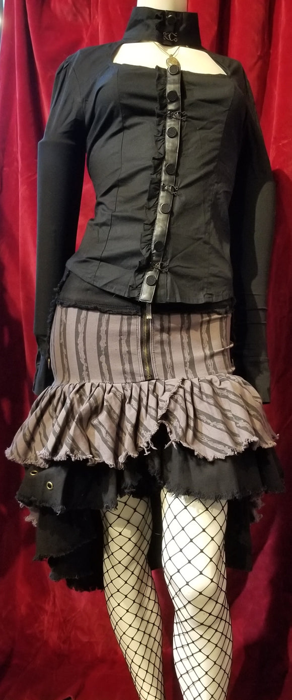 Lip Service Ladies Black Steampunk Circus Ruffle Skirt
