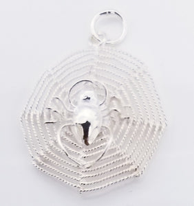 925 Sterling Silver Spider Web Pendant