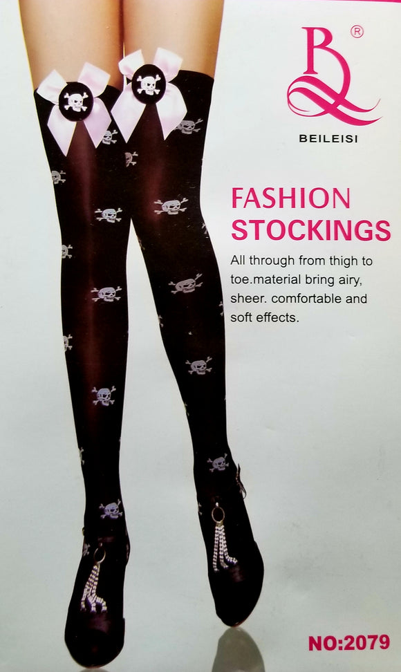 Pirate Stockings Skull Print Thigh Highs w/Satin Bow & Skull