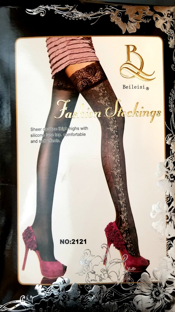Sheer Opaque Thigh Highs Silicone Lace Top Stocking
