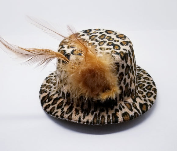 Leopard Barrette Mini Hat With Feather