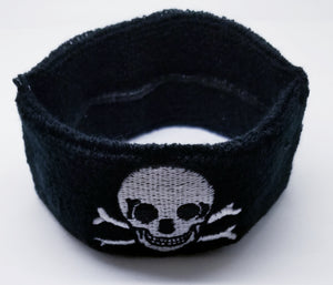 Black Embroidered Skull Headband