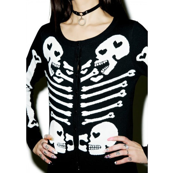 Heart Bones Skeleton Cardigan Sweaters