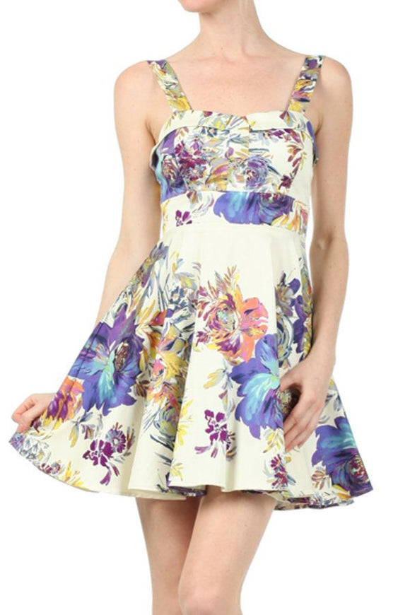 Ixia Blue With Flower line Dress