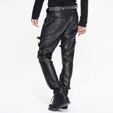 PU Leather Pants With Buckles & Zippers