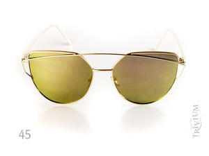 Vintage Cat Eye Mirrored Metal Frame Women Sunglasses