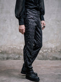 BLACK PATTERN HIGH-WAISTED GOTHIC PANTS