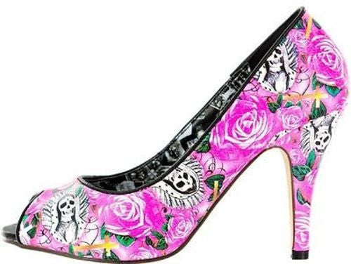 Beautiful Sinner Skeleton Skull Pink Heel