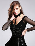 Gothic Long Sleeves Top With Chains And Choker
