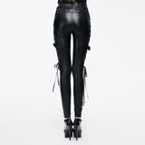 PU Leather Pants With Lacing On The Side