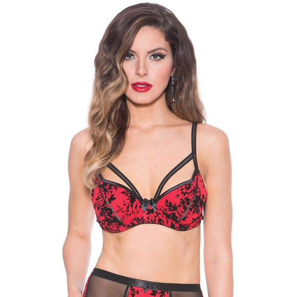 Bedroom Stories Floral Brocade Bra Red