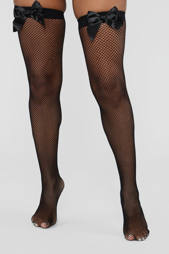 Black Satin bow Fishnet Thigh High Stockings