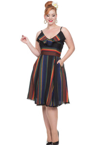 Adelyn Black Rainbow Flare Dress