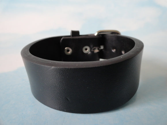 Black Plain Leather Bracelet with a Buckle Attachment