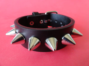 Leather Bracelet with 7 Cone Studs