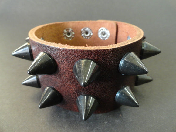 Brown Leather Cuff Bracelet with 2 rows of Black Cone studs