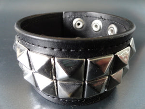 Black Leather Bracelet with 2 Rows Pyramid Studs