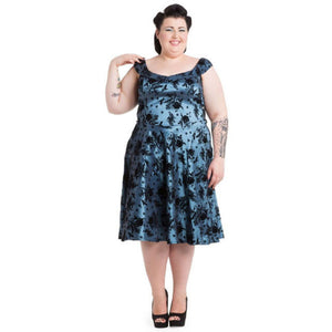 Bird Flocking Flair Plus Size Dress-Blue