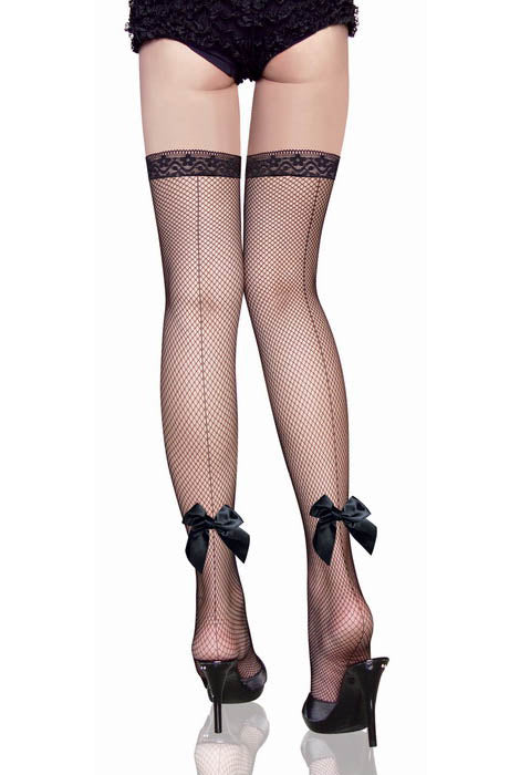 Back Ribbon Seam Fishnet Thigh High Stockings