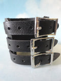 "3"" Wide Black Leather Cuff Bracelet with 3 Straps & Buckles"