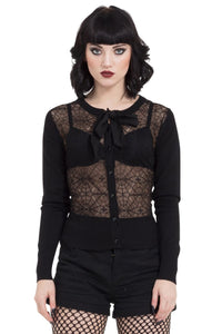 Web Lace Cardigan With Chiffon Tie Accent
