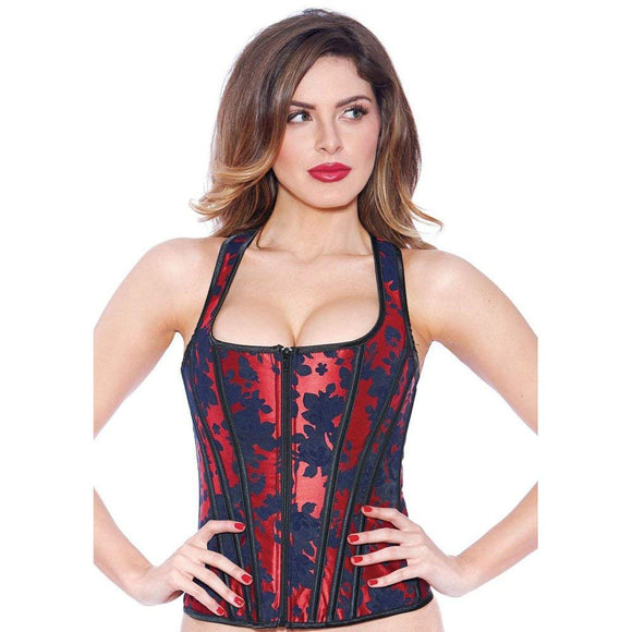 Halter Top Overbust Black And Red Brocade Corset