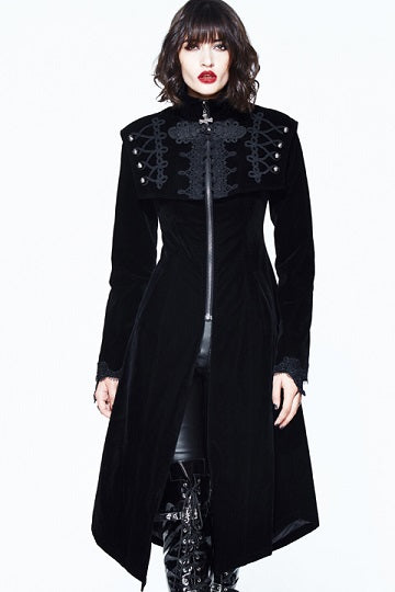 BLACK VINTAGE VELVET GOTHIC LONG CAPE