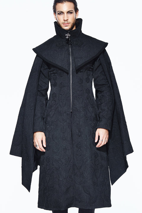 BLACK MEN'S GOTHIC LONG COAT WITH DETACHABLE CAPE
