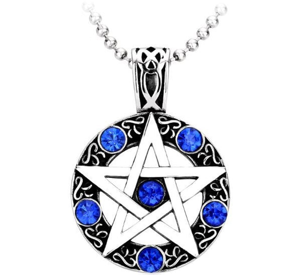 Stainless Steel Pentagram Pendant With Ball Chain