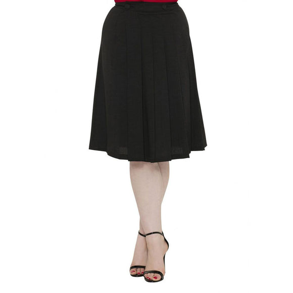 Deborah - Pleated A Line Skirt-Black