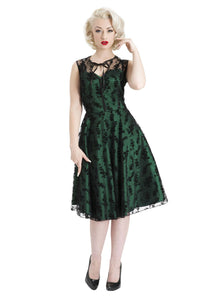 Penny Taffeta With Floral Overlay Flare Dress