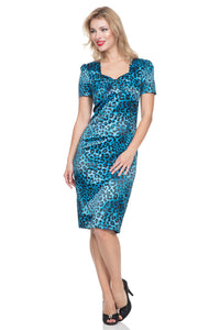 Serena Blue Leopard Print Dress