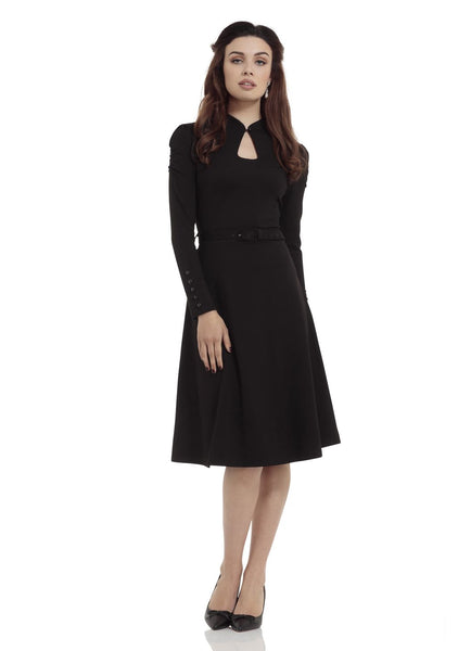DITA KEYHOLE NECKLINE LONG SLEEVE FLARE DRESS