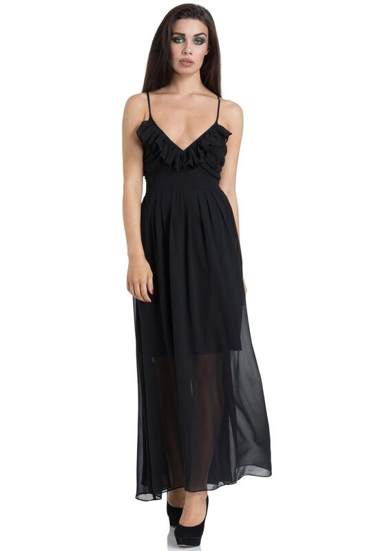 Dark Chiffon Maxi Dress