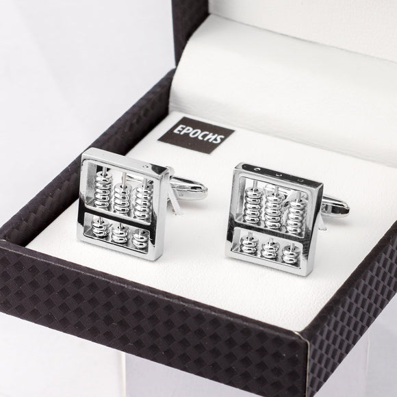 Silver Abacus Cufflinks French Shirt W/ Gift Box